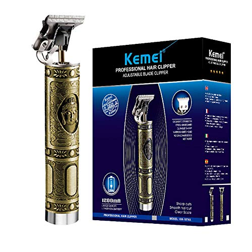 KEMEI Haarschneidemaschinen für Männer Professionelle Pflege Trimmer USB Wiederaufladbare T-Klinge 0 mm Zero Gapped Detail Glatze Haarschneidemaschinen mit 3 Limit Kämme,Buddha