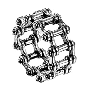 JewelryWe Schmuck Biker Herren-Ring Edelstahl Fahrrad Kette Punk Rock Motorrad-Style Band Ring Silber - Größe 74