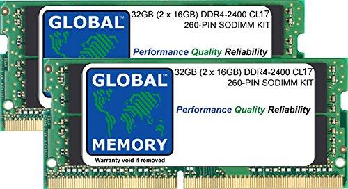 32 GB (2 x 16GB) DDR4 2400MHz PC4-19200 260-PIN SODIMM MEMORIA KIT PER INTEL IMAC 27' RETINA 5K (2017)