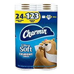 Pack contains 24 Rolls (338 sheets per roll) of Charmin Ultra Soft Family Mega Roll toilet paper 1 Charmin Family Mega Roll = 5+ Regular Rolls based on number of sheets in Charmin Regular Roll bath tissue Charmin's softest 2-ply toilet paper ever mad...