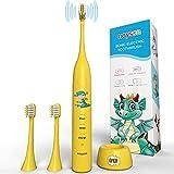 Spazzolini da denti elettrici, cartoni animati di dinosauro spazzolini da denti con 3 spazzolini da denti, spazzolini da denti per bambini per ragazzi e ragazze 3+(bianco) (yellow dinosaur)