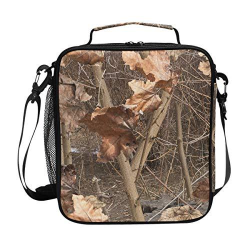 ZZXXB Camo Real Tree isolierte Lunch-Tasche, wiederverwendbare Thermo-Kühltasche Tote Outdoor Reise Picknick-Tasche mit Schultergurt für Kinder Studenten Erwachsene