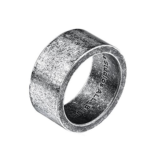 PAMTIER Per Uomo E Donna Acciaio Inossidabile Nordic Sweden Minimalist Band Promise Matching Ring Argento Nero Taglia 25