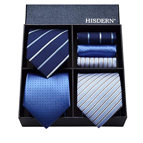HISDERN Lot 3 PCS Ensemble cravate pour hommes Classique d...