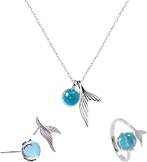 4 Pcs Mermaid Necklace Ring Studs Sets, S925 Silver Mermaid Bracelet Whale Fluke Pendant Fish Tail Necklace Gifts for Mermaid & Starfish Lovers, Charm Pendant Ocean Sea Jewelry