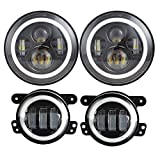 Dot Approved 7inch Jeep LED Headlights with White...