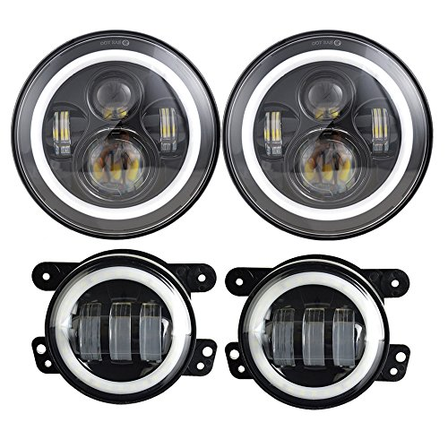 Dot Approved 7inch Jeep LED Headlights with White DRL Amber Turn Signal + 4 inch LED Fog Lights with White DRL Halo Ring for Jeep Wrangler 97-2017 JK LJ Tj