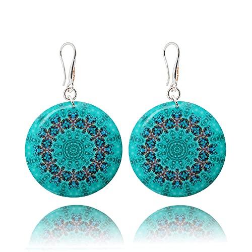 Mandala Fashion Lightweight Turquoise Teal Blue Statement Earrings for Women; Elegant Light Green Birthday Jewellery by Dragon Porter; Diameter 1.2in