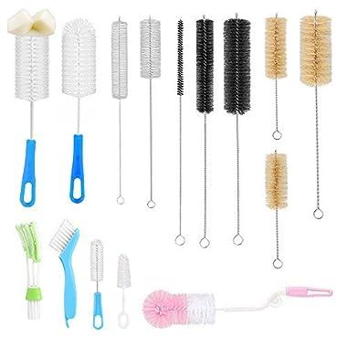 15Pc Food Grade Multipurpose Cleaning Brush Set, Includes Straw Brush|Nipple Cleaner|Bottle Brush|Blind Duster|Pipe Cleaner, Small,Long,Soft,Stiff Kit for Baby Bottles,Tubes,Jars,Bird Feeder