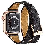 WFEAGL Bracelet Compatible pour Bracelet Apple Watch 38mm 40mm,Cuir de Grain Double...