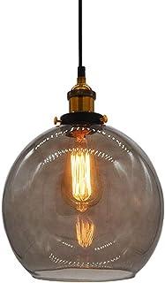 Huahan Haituo Szkło Wisiorek Light Vintage Industrial Metal Finish Clear Glass Ball Okrągły Cień Loft Lampa wisząca Retro ...