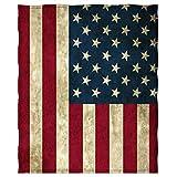 USA Flag Fleece Blanket, American Flag Plush Velvet Throw Blanket for Traelling Sofa Couch Bed, 58 x 80 Inch, Vintage Red Blue
