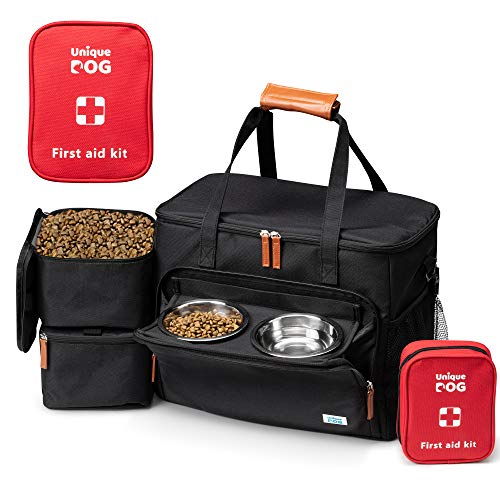 Unique Dog Travel Bag - Dog Traveling Luggage Set for Dogs Accessories - Include Pet First Aid Bag with Case Tags, Elevated Bowl Stand, 2X Food Storage Containers, 2X Dog Stainless Steel Bowls.