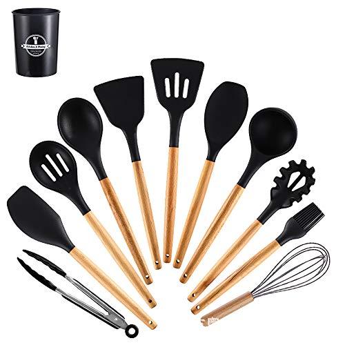 12PCS Silicone Kitchenware Kitchen Gadgets Cooking Tools Silicone Cooking Utensils Set Cooking Gadgets Knife Fork Spoon Flatware,Black