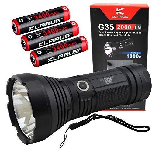 Klarus G35 Dual Switch Flashlight Compact Spotlight Bundle with 3x Klarus 3400mAh 18650 Rechargeable Batteries