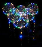10 Pack Led Bobo Balloons, Zodight Transparent LED Light Up Balloons, Helium Glow Bubble Balloons with String...