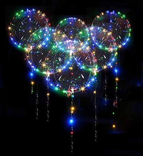 LED-Bobo-Luftballons, 10 Stück, LED-Leuchtballons, leuchtende, transparente Blasenballons für Weihnachten, Hochzeit, Geburtstag, Outdoor-Party-Dekorationen (45,7 cm/bunt)