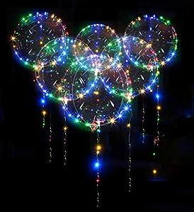 10 PCS LED Bobo Globos - Zodight 18 Pulgadas Globos Luminoso Transparente Globo de Helio con LED Muticolores, Decoración para Cumpleaños, Fiesta, Boda, Navidad, día de San Valentín