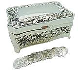 Colección de unión matrimonial con caja de metal y arras de boda