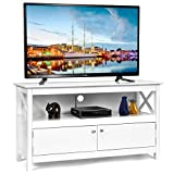Tangkula Wooden TV Stand for TVs Up to 50 Inch, X Shape Console Storage Cabinet, Entertainment Center with 2 Doors & Shelf, Home Living Room Furniture, Farmhouse TV Storage Console (White)