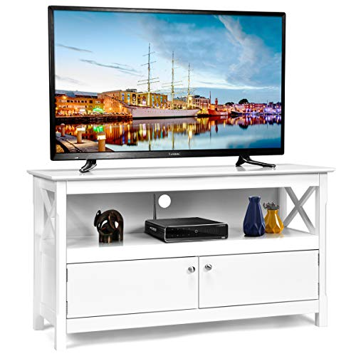 Tangkula Wood TV Stand, Modern Multipurpose Home Furniture Storage Console Entertainment Media Center (White)