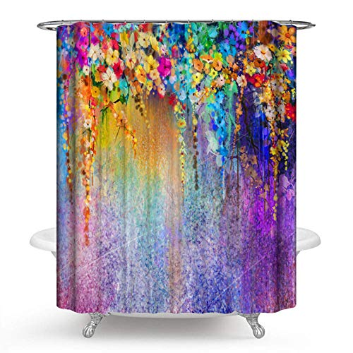 PHNAM Floral Polyester Fabric Shower Curtains 72 x 72 Inches Extra Long Waterproof Watercolor Spa Curtain with Stainless Steel Hooks Set (Purple)