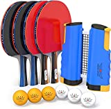 NIBIRU SPORT Professional Ping Pong Paddle Set with Retractable Net (Bracket Clamps), Balls, and Posts (4-Star) Regulation Table Tennis Accessories, Advanced Home Indoor or Outdoor Play, Storage Case