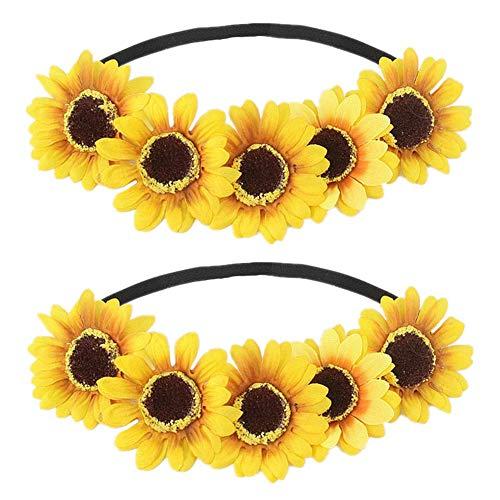 Diadema de girasol, corona de flores para el pelo, accesorio para el pelo, color amarillo, 2 unidades