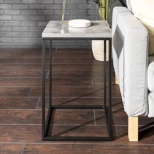 Walker Edison Modern Open Square Side Accent Living Room Small End Table, 16 Inch, Dark Concrete