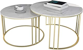 Lcxliga Living Room Table Furniture Nordic Round Tea Table - Marble Nested Table Set of 2 - Gold Metal Frame Coffee Table ...