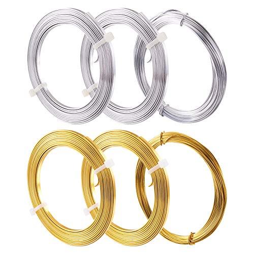 Beadthoven 6 rollos de alambre de aluminio plano y redondo, calibre 18 (1 mm), alambre de metal flexible de 3 mm de ancho, alambre de joyería artística flexible dorado y plateado para hacer joyas