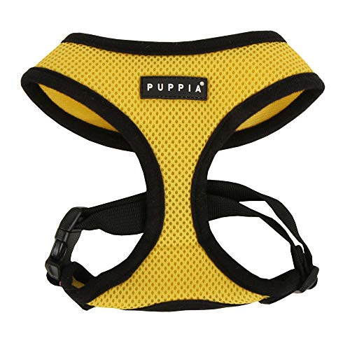 Puppia Soft Dog Harness No Choke Over-The-Head Triple Layered Breathable Mesh Adjustable Chest Belt and Quick-Release Buckle, Yellow, Small