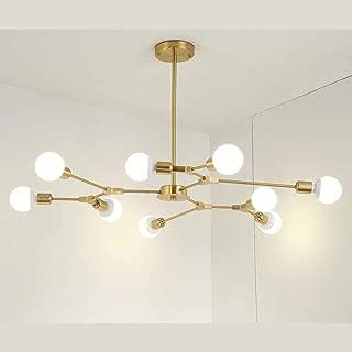 NIUYAO Sputnik Chandelier Industrial 9-Light Pendant Lighting Modern Starburst-Style Gold Ceiling Lighting Fixture for Dining Room Kitchen Bedroom Foyer Bar(Gold-New)