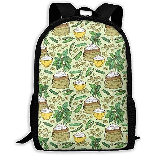 Leichter Rucksack lässige Schultasche,großer Rucksack Outdoor-Umhängetasche,personalisiert,Soja-Mehl für Männer/Frauen,Diebstahlschutz für Soja-Pflanzen,Reisetasche,Verstellbarer Oxford-TagesRucksack