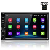 OiLiehu Android 8.1 Car Stereo Radio Receiver, Double Din 7'' HD Touch Screen Head Unit, Support Bluetooth Dual System Mirror Link Built-in GPS WIFI+8 LED Lights Backup Camera
