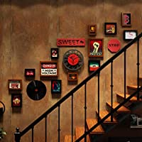 ロフト時計階段フォトウォール、ミックスアンドマッチギャラリーフォトフレームインダストリアルスタイルの装飾画、13ギャラリーフォトフレーム4種類のアクセサリー-黒胡