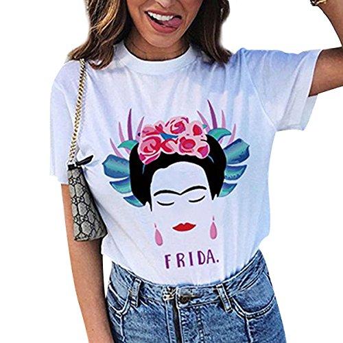 Camiseta de Manga Corta de Verano Artista Frida Kahlo para Mujer Personalizada (Color : White, tamaño : M)
