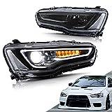 VLAND LED Headlights Compatible with Mitsubishi Lancer EVO X 2008-2020 (Black Lens)
