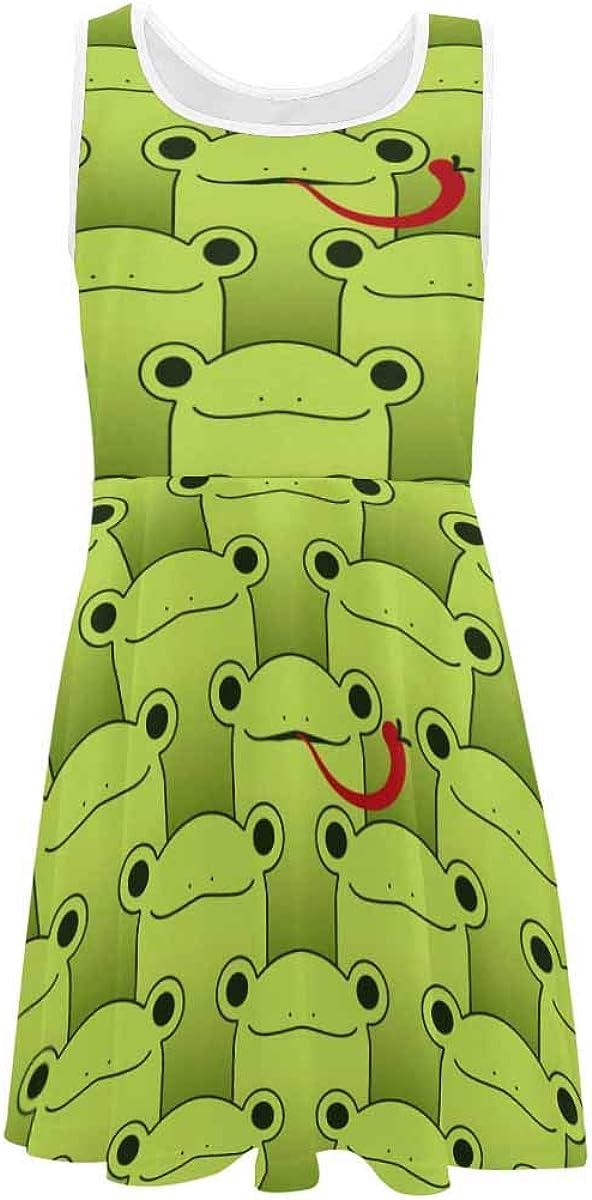 INTERESTPRINT Girls Dress Summer Sleeveless Casual Party Twirl Dresses 4-13 Years Cartoon Frogs Pattern M