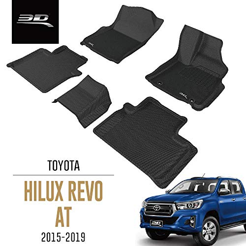 3D MAXpider All-Weather Car Floor Mats for Toyota Hilux Revo AN120 AT 2015-2019 Tailored Custom Fit Premium Waterproof Hybrid Rubber Car Mat Set (P4)