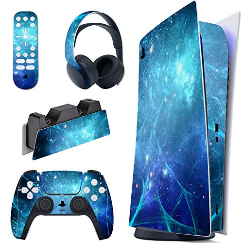 PlayVital Skin für PS5 Konsole Digital Edition, Aufkleber Vinyl-Skin Stickers Schutzfolie Folie für PS5 Playstation 5, DualSense Controller, Ladestation, Headset, Medienfernbedienung-Blauer Nebel