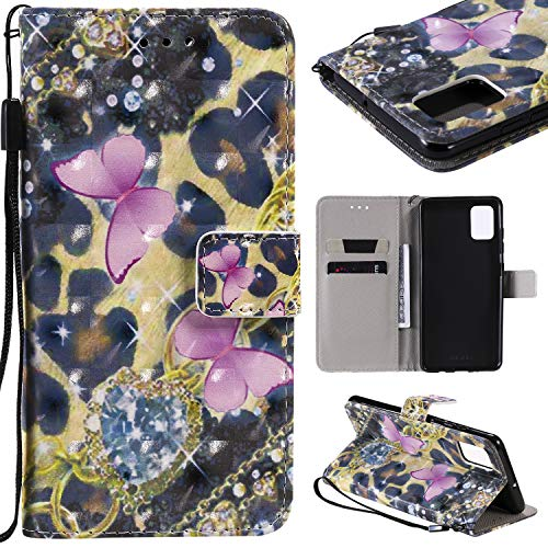Wallet Leather Case for Samsung Galaxy A51,Aoucase Fancy 3D Painted Full Body Magnetic Soft Silicone Card Slot Strap Stand PU Leather Case with Black Dual-use Stylus - Pink Butterfly