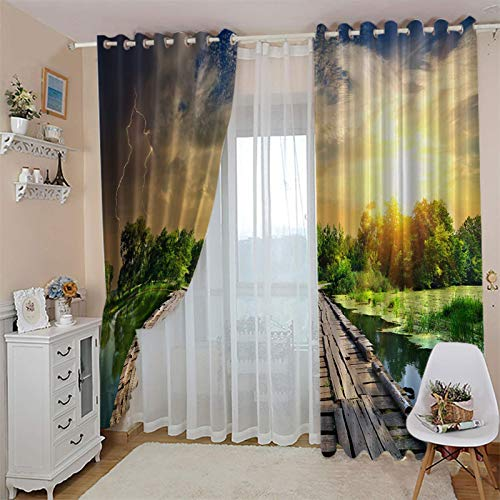 CLZLH Blackout Curtains Eyelet Curtains For Bedroom Living Room 3D Sunset, Sky, Trees, Lake Printing Pattern 39X84 Inch Drop 2 Panels Home Kids Bedroom Nursery Decoration Soundproof Noise Reducing