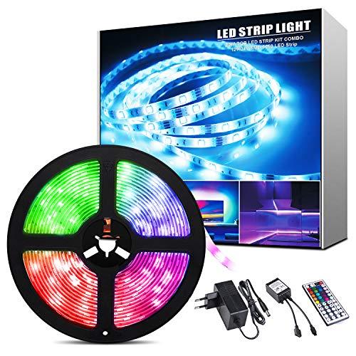 ShinePick 5M Tiras LED RGB, 12V 150 LEDS Tiras LED 5050 Iluminación con Control Remoto IR de 44 Teclas, Impermeable IP65, Luces Led Decoracion para el Hogar,Cocina,Navidad