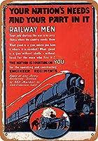 メタルサインネイションは鉄道の男性を頼りにしていますレトロな装飾ティンサインバー、カフェ、アート、家の壁の装飾