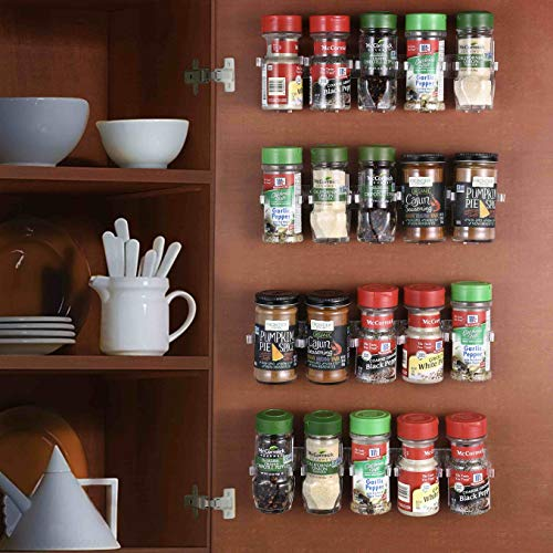 CAXXA 50 Clear Adhesive Spice Gripper Strip Clips with Extra Support, Spice Rack Dispenser, Kitchen Cabinet Holder, 10 Strips, Holds 50 Jars