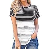 Camiseta de Mujer Camiseta de Mujer Camiseta básica de Manga Corta Camiseta de Manga Corta Top con Mujer con Cuello Redondo Camiseta de Rayas Cuello Redondo Camiseta de Color con Costuras en Bloque