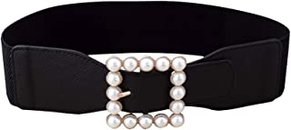 Sponsored Ad - KESYOO Ladies Simple Cummerbund Elastic Pearl Waistband Square Buckle Belt Skirt Ornament for Decoration (B...