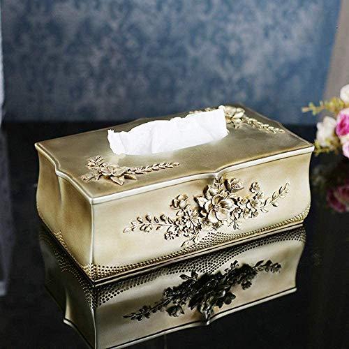 TAIDENG Caja de pañuelos Decoración Creativo Hogar Accesorios Corte Europea Tallado Dormitorio Living Cajas de Tejido Decoración Artesanía Resina