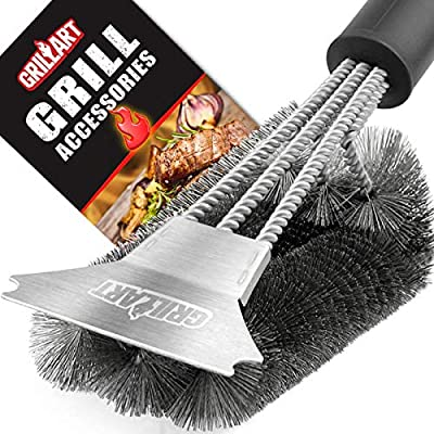 """Grill Brush and Scraper - Extra Strong BBQ Cleaner Accessories - Safe Wire Bristles 18"""" Stainless Steel Barbecue Triple Scrubber Cleaning Brush for Gas/Charcoal Grilling Grates, Wizard Tool"""